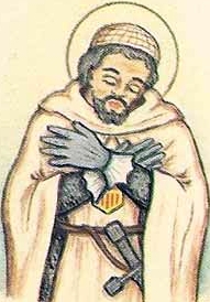 detail of an Italian holy card of Blessed William of Montreal by Bertoni, date unknown; swiped from Santi e Beati