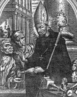 detail of an Italian holy card of Saint Ethelwold of Winchester, date and artist unknown; swiped from Santi e Beati
