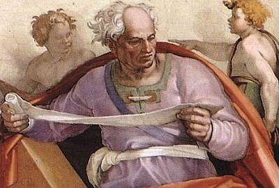 detail of the portrait of Joel by Michelangelo Buonarroti, 1509, Cappella Sistina, Vatican