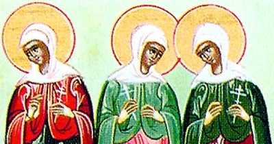 detail of an illustration of the Martyrs of Caesarea, date and artist unknown; swiped from Santi e Beati