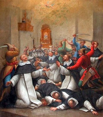 detail of a painting of the Martyrs of Sandomierz, date and artist unknown; swiped from Santi e Beati