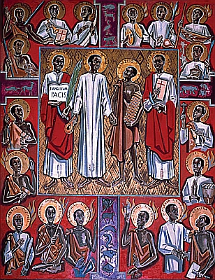 image of a holy card of the Martyrs of Uganda, based on a painting by Albert Wider, 1962; Generalate of the Missionaries of Africa, Rome, Italy