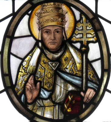 detail of a stained glass window of Pope Saint Gregory the Great, by Syrius Eberle, date unknown; parish church of Saint Benedict in Odelzhausen, Dachau, Bayern, Germany; photographed on 17 October 2015 by GFreihalter; swiped from Wikimedia Commons