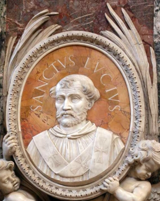 detail of a bas-relief portrait medallion of Pope Saint Lucius I, date and artist unknown; Saint Peter's Basilica, Rome, Italy