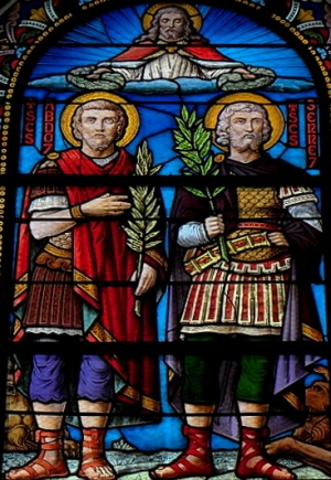 detail of a stained glass window of Saint Abdon and Saint Sennen, date unknown, artist unknown; Church of Saint Abdon and Saint Sennen, Rennes, France; photographed on 24 May 2011 by GO69; swiped from Wikimedia Commons
