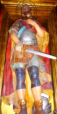 statue of Saint Anastasius of Lérida, Church of Santa Maria, Badalona, Spain; date unknown, artist unknown; photographed on 2 September 2014 by Zarateman; swiped from Wikimedia Commons
