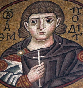 mosaic of Saint Anempodistos; date and artist unknown; Monastery of Hosios Loukas, Greece; photographed on 16 November 2009 by Hans A. Rosbach; swiped from Wikimedia Commons; click for source image