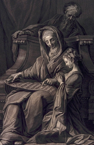 detail of an engraving of Saint Anne educating the Blessed Virgin Mary while Saint Joachim watches; early 18th century by Pierre-Imbert Drevet; Wellcome Library, London, England; swiped from Wikimedia Commons; click for source image