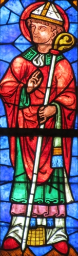 detail of a stained glass window of Saint Annobert of Séez, date and artist unknown; north side of the Cathedral of Notre Dame, Seez, France; photographed on 19 August 2012 by Giogo; swiped from Wikimedia Commons