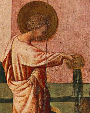 detail of a painting of Saint Ansanus baptizing, artist unknown, c.1445; Christian Museum, Esztergom, Hungary