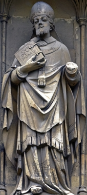 statue of Saint Anselm of Canterbury, Canterbury Cathedral, Canterbury, England; artist unknown; photograph on 31 May 2010 by Ealdgyth; swiped off Wikipedia