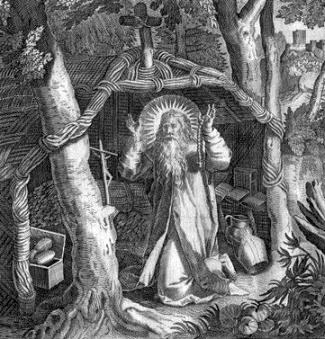 illustration of Saint Arnold of Metz, 1680; swiped off Wikimedia Commons