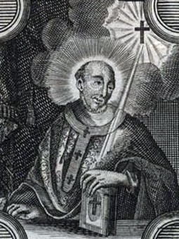 detail of an illustration of Saint Bardo of Mainz, date and artist unknown; swiped from Santi e Beati