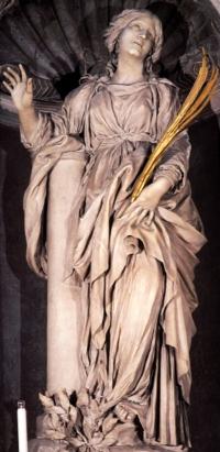 statue of Saint Bibiana by Gian Lorenzo Bernini, Santa Bibiana, Rome, Italy, date unknown; swiped from Wikimedia Commons