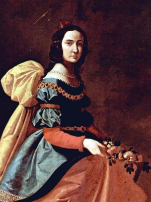 detail of a portrait of Saint Casilda of Toledo by Francisco de Zurbarán, c.1640; Museo del Prado, Madrid, Spain; swiped from Wikimedia Commons