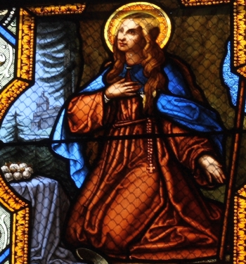 detail of a stained glass window of Saint Colette of Corbie, church of Saint-Clodoald, Saint-Cloud, France; by Fialeix à Mayet, 28 novembre 1866; photographed on 23 March 2011 by Reinhardhauke; swiped from Wikimedia Commons