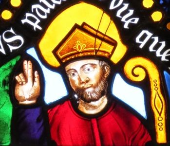 detail of a stained glass window of Saint Contest, bishop of Bayeux; Duval et Panchet Bellerose, 1839; chapel of Saint-Hilaire, Saint-Contest and Sainte-Honorine, Cathédrale Notre-Dame de Bayeux, France; photographed on 16 August 2012 by Giogo; swiped from Wikimedia Commons