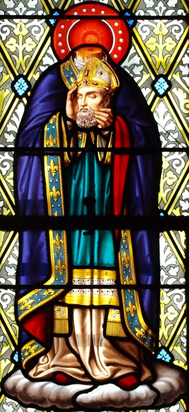 detail of a stained glass window of Saint Denis of Paris; date and artist unknown; cemetery chaple of the Croix-Bouessée, Piré-sur-Seiche, Ille-et-Villaine, France; photographed on 13 December 2013 by François GOGLINS; swiped from Wikimedia Commons