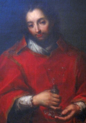 detail of a painting of anonymous 18th century painting of Saint Eusebius of Milan; Diocesan Museum of Milan, Italy; photographed on 1 October 2011 by A ntv; swiped from Wikimedia Commons