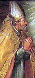 detail of a painting of Saint Evasius of Asti; 1677, artist unknown; swiped from Wikimedia Commons