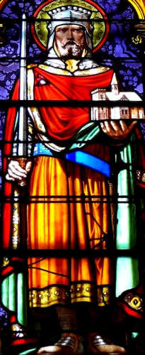 stained glass window of Saint Gerald of Aurillac, date and artist unknown; photographed on 10 October 2016 by Père Igor; swiped from Wikimedia Commons