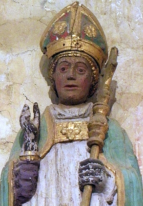 detail of a statue of Saint Goulven; date unknown, artist unknown; Saint Jaoua Chapel, Plouvien, France; photographed on 4 August 2012 by GO69; swiped from Wikimedia Commoms; click for source image