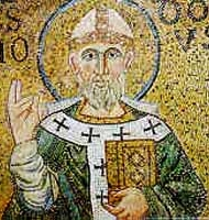 detail of a mosaic of Saint Heliodorus of Altinum, date and artist unknown; swiped from Santi e Beati: click for source image