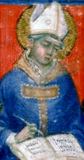 image of Saint Hilary of Arles from an 14th century manuscript