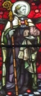 detail of a stained glass window of Saint Illtyd; date and artist unknown; Holy Trinity Church, Abergavenny, Wales; photographed on 24 May 2011 by Gwenddwr; swiped from Wikimedia Commons