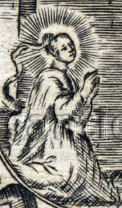 detail of an antique woodcut illustration of Saint Isberga; date and artist unknown; swiped from Santi e Beati