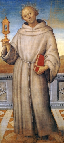 detail of a portrait of Beato Giacomo della Marca; by Pietro Perugino, 1512-15; tempera on canvas, Gallery of Umbria, Perugia, Italy; swiped from Wikimedia Commons