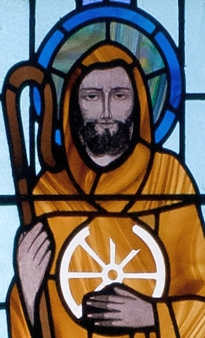 detail of the stained glass window depicting Saint Jarlath; date and artist unknown; Saint Benin's Church, Kilbennan, County Galway, Ireland; photographed on 16 September 2010 by Andreas F. Borchert; swiped from Wikimedia Commons