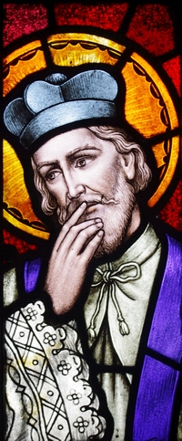 detail of a stained glass window of Saint John Nepumocene; date and artist unknown; the confessional of Saint Aloysius Church, Columbus, Ohio; photographed on 12 April 2014 by Nheyob; swiped from Wikimedia Commons; click for souce image