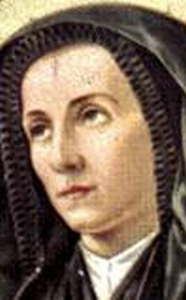 detail of a 19th century illustration of Saint Lucia Filippini, artist unknown