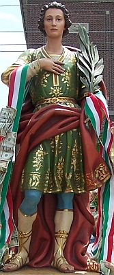 statue of Saint Martialis; the statue is owned by Comitato Organizzativo San Marziale, Inc., Stella Maris Roman Catholic Church, 10th and Bigler Street, South Philadelphia, Pennsylvania; photographed by, and used with the permission of David Faust