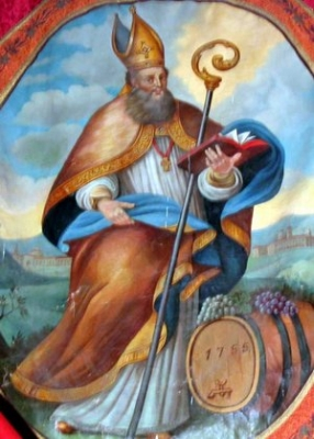 painting of Saint Othmar of Saint Gall, church of Saint Othmar, Madling, Germany