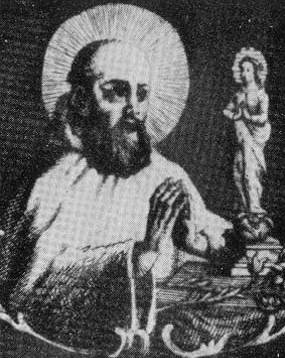 detail of an illustration of Saint Parisius, date and artist unknown; swiped from Santi e Beati