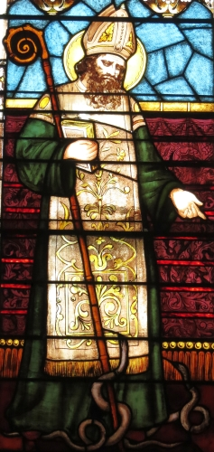 detail of stained glass window of Saint Patrick, date and artist unknown; Immaculate Conception Catholic Church, Knoxville, Tennessee; photographed on 16 September 2016 by Nheyob; swiped from Wikimedia Commons