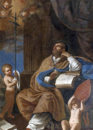 detail of a painting of Saint Peter Chrysologus; School of Guercino, 17th century; Diocesan Museum of Pius IX, Imola, Italy; swiped from Wikimedia Commons