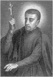 charcoal drawing of Saint Peter Claver, artist unknown, date unknown