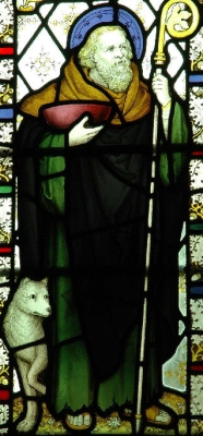 19th century stained glass window of Saint Petroc, Bodmin, Cornwall, England, artist unknown