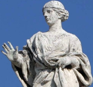 detail of a statue of Saint Petronilla, artist unknown, raised in 1666, colonnade, Saint Peter's Basilica, Rome, Italy