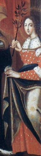 detail of a painting of Saint Precia of Epinal by Jean-Baptiste Bataille, 1725; church of Saint Maurice, Epinal, France; swiped from Wikimedia Commons