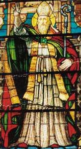 Saint Prospero of Tarragona stained glass window, date, location and artist unknown; swiped from Santi e Beati
