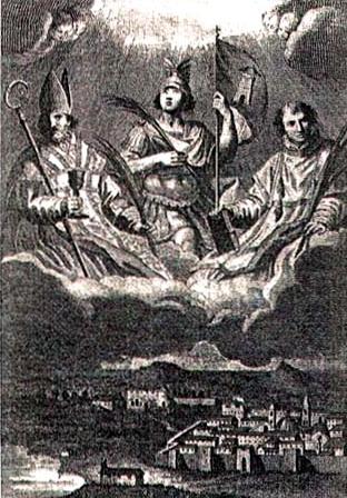 Italian holy card of Saint Proto Gavino e Gianuario; swiped from Santi e Beati