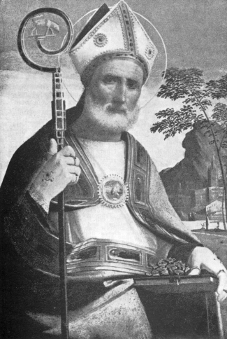 illustration of Saint Rainerio of Split from a 1952 German holy card; image based on a painting by Giovanni Battista detto l'Ortolano, c.1500; swiped from Wikimedia Commons