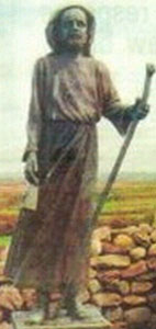 statue of Saint Senan carved in Australia and now standing in parish of Doonbeg, West Clare, Ireland; artist unknown, photographer unknown
