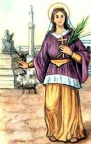 detail of an Italian holy card of Saint Serena by Bertoni, date unknown; swiped from Santi e Beati