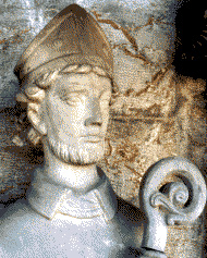 statue of Saint Swithun in the Stavenger Cathedral