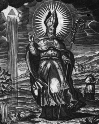 an engraving of Saint Laureano; 1758 by Fray Diego Tello Lasso de la Vega; from the book 'San Laureano Obispo y martir'; swiped from Wikimedia Commons